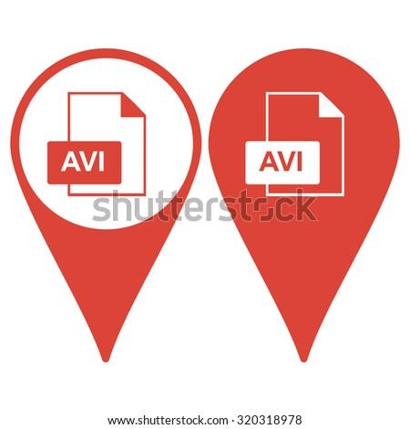 avi file icon. Flat design style - stock photo