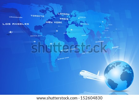 aviation background with many planes over the map with major cities names - stock photo