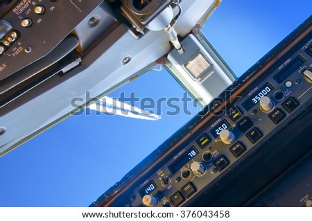Aviation safety - air proximity as seen from the cockpit - stock photo
