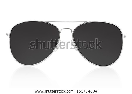 Aviator sunglasses isolated on white, clipping path included - stock photo