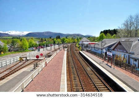AVIEMORE, SCOTLAND, JUNE 1, 2014 : Aviemore railway station serves the town and tourist resort of Aviemore in the Highlands of Scotland - stock photo