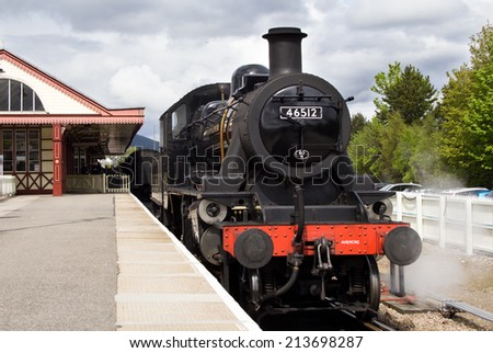 AVIEMORE, SCOTLAND - MAY 8: LMS Ivatt 46512 Class 2 2-6-0 locomotive, one of only seven remaining on May 8, 2014 in Aviemore, Scotland