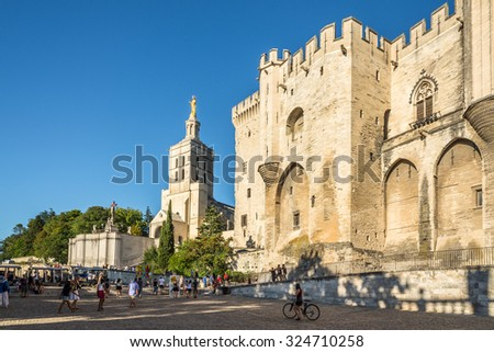 AVIGNON,FRANCE - AUGUST 29,2015 - Place du Palais of Avignon.The historic centre,which includes the Palais des Papes,the cathedral, and the Pont d Avignon, became a UNESCO World Heritage Site in 1995.