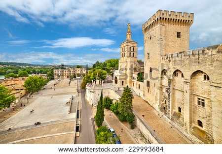 AVIGNON, FRANCE - 5 JULY, 2014: Pope palace in Avignon which became the residence of the Popes in 1309 on july 5 in Avignon. - stock photo