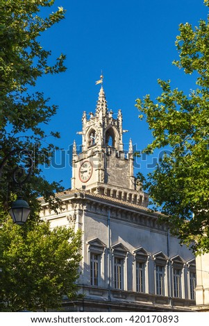 Avignon, France. The building of the Town Hall (XIX cent.) and Jacquemart Tower in the Square Clock (Place de l'Horloge), XV cent.