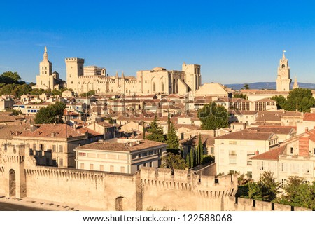 Avignon in Provence - View on city and Popes Palace - stock photo