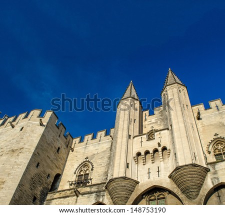 Avignon in Provence - View on city and Popes Palace. - stock photo