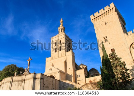 Avignon - Notre Dames des Domes Church near Papal Palace, Provence, France - stock photo