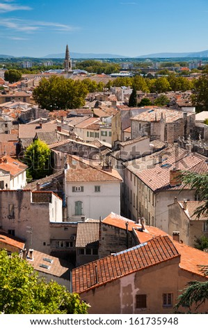 Avignon old city houses view - France - stock photo