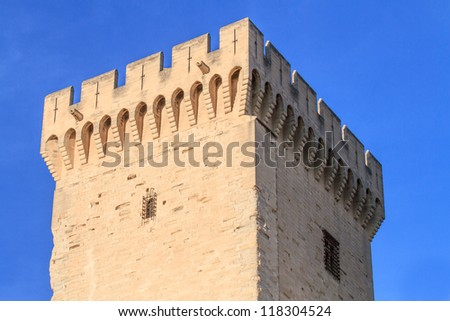 Avignon - View on Popes Palace Tower, Provence, France - stock photo