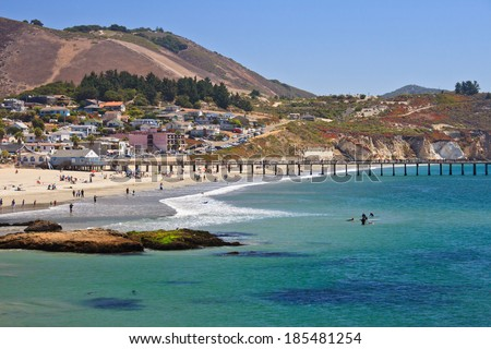 Avila beach--a very popular whale watching destination in California,  located south of San Luis Obispo and right off Pacific Coast Hwy - stock photo