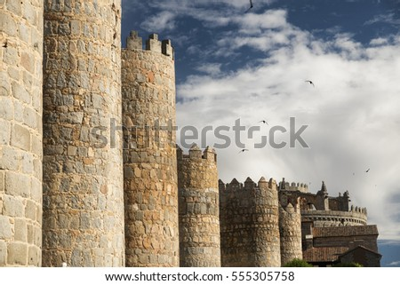Avila (Castilla y Leon, Spain): the famous medieval walls surrounding the city