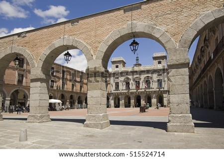 Avila, Spain - May 31, 2016: People walk on the central town square Plaza Mayor, of Avila, Spain on May 31, 2016