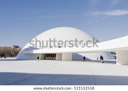 AVILES, SPAIN - DECEMBER 09 View of Niemeyer Center building, in Aviles, Spain, on December 09, 2012. The cultural center was designed by Brazilian architect Oscar Niemeyer, was his only work in Spain - stock photo