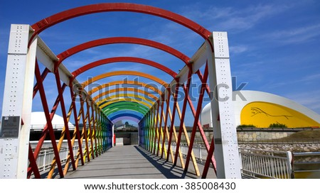 AVILES, SPAIN - JULY 6: View of the bridge to access to the Niemeyer Center building, in Aviles, Spain, on July 6, 2015. The cultural center was designed by Brazilian architect Oscar Niemeyer. - stock photo
