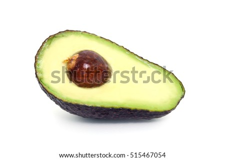 Avocado (also named as Persea americana, Lauraceae avocado, alligator pear, criollo fruit, Aguacate in Spanish, Abacate in Protugese or pear) isolated on white