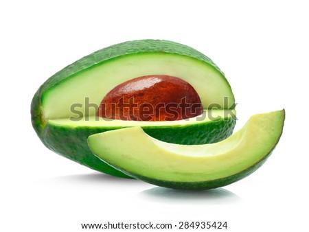 avocado and slice isolated - stock photo