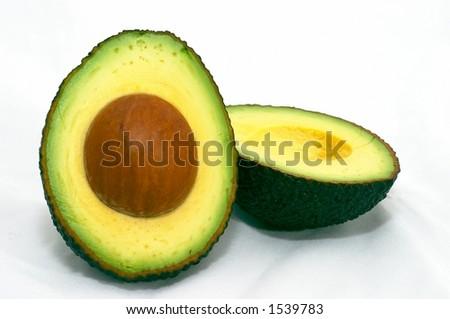 Avocado, cut, isolated white background - stock photo