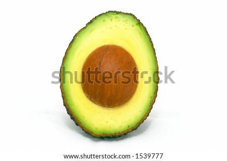 Avocado cut on isolated white background - stock photo