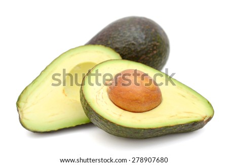 avocado fruits isolated on white  - stock photo
