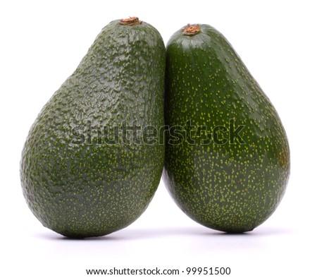 Avocado fruits isolated on white background - stock photo