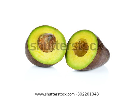 Avocado isolated on white. - stock photo