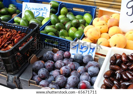 Avocado, plums, peaches and dates. Grocery street market view in Granada, Spain.