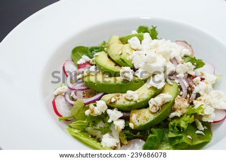 Avocado salad with goat cheese, lettuce and radish - stock photo