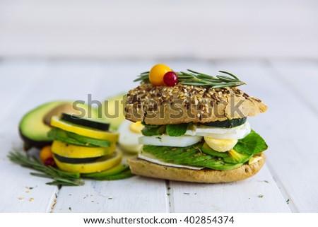 Avocado sandwich - stock photo