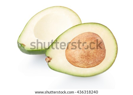 Avocado section isolated on white, clipping path