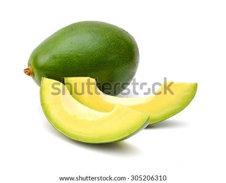 avocado slices isolated on a white background - stock photo