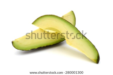 avocado slices on white background  - stock photo