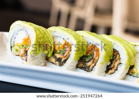 Avocado Sushi roll japanese food