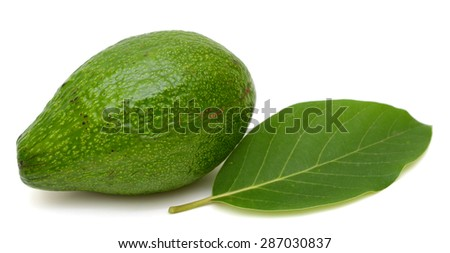 Avocado with leaf isolated on a white background
