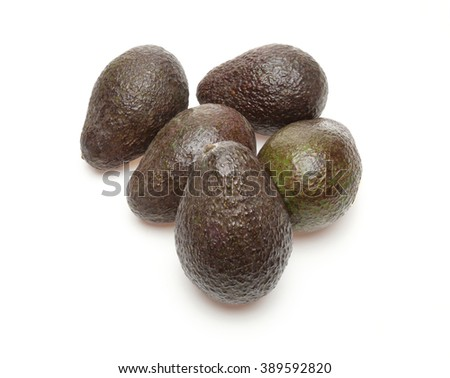 Avocados in a white background