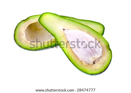 Avocados isolated on white background
