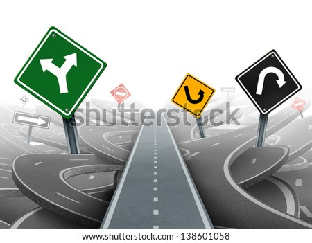 Avoiding distractions with focus on a clear strategy for solutions in business leadership as a straight path to success choosing a right strategic plan with yellow green black and red traffic signs. - stock photo