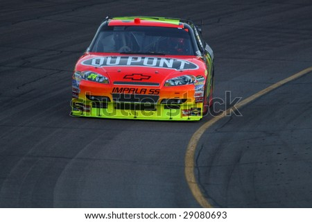 AVONDALE, AZ - APRIL 18: Jeff Gordon (24) in action during the opening laps of the NASCAR Sprint Cup Series race at Phoenix International Raceway April 18, 2009 in Avondale, AZ. - stock photo