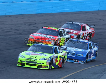 AVONDALE, AZ - APRIL 18: Mark Martin leads the qualifying lineup for the NASCAR Sprint Cup Series race at Phoenix International Raceway April 18, 2009 in Avondale, AZ.