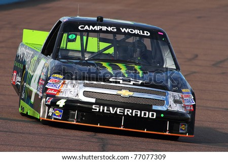 AVONDALE, AZ - FEB 25: Ricky Carmichael (4) takes hot laps during a practice session for the Lucas Oil 150 race on Feb. 25, 2011 at the Phoenix International Raceway in Avondale, AZ.