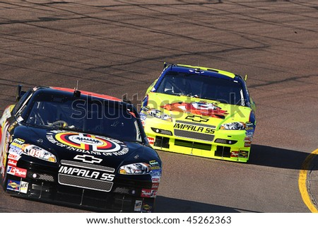 AVONDALE, AZ - NOV. 14: David Gilliland leads Mark Martin during a practice session for the NASCAR Sprint Cup race, at Phoenix International Raceway on Nov. 14, 2009 in Avondale, AZ.