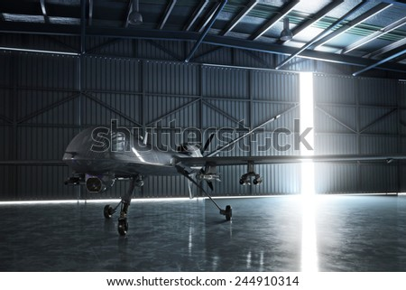 Awaiting flight. Lone drone U.A.V aircraft awaiting a military mission in a hanger. 3d model scene. - stock photo