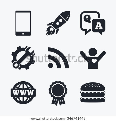 Award achievement, spanner and cog, startup rocket and burger. Question answer icon. Smartphone and Q&A chat speech bubble symbols. RSS feed and internet globe signs. Communication Flat icons. - stock photo