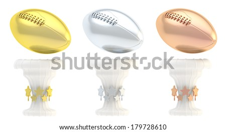 Award american football or rugby sport trophy set of golden, silver and bronze cups isolated over white background - stock photo