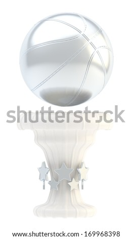 Award basketball sport silver trophy cup isolated over white background - stock photo