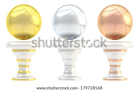 Award basketball sport trophy set of golden, silver and bronze cups isolated over white background - stock photo