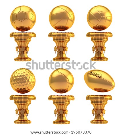 Award basketball, volleyball, football, soccer, tennis and golf sport bronze metal trophy cup set isolated over white background - stock photo