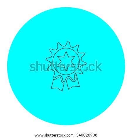 Award. Black outline flat symbol on blue circle. Simple illustration pictograh on white background - stock photo