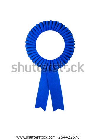 Award blue badge ribbon isolated on a white background - stock photo