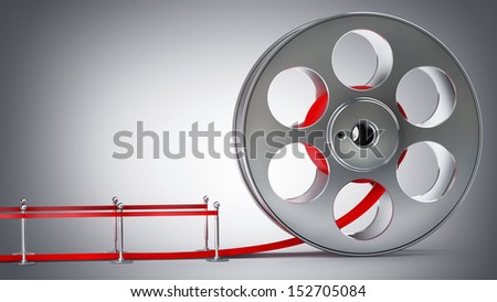 Award concept. Cinema film roll and red carpet. 3d illustration. high resolution  - stock photo